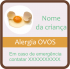 Etiqueta de Alerta - Alergia a Ovos