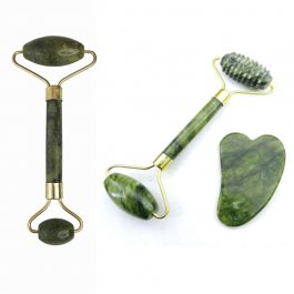 Imagem - Kit Massagem Facial Rolo Pedra De Jade + Placa Gua Sha Anti Ruga - Mandala cód: 5980