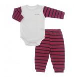Conjunto de Body e Calça para Bebê Listrado