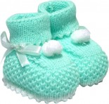 Pantufa de Bebê Verde Pom Pom 5168