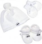 Conjunto de Touca de Bebê Luva e Pantufa de Lã Branca - 7534