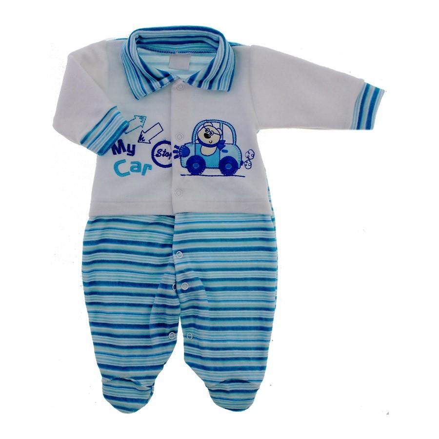 93bacf6b1 Macacão de Bebê Menino em Plush Carrinhos - 9051