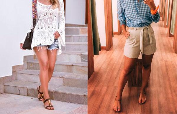 rasteirinha com shorts um clássico