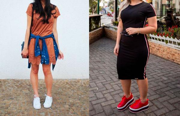tênis e vestido