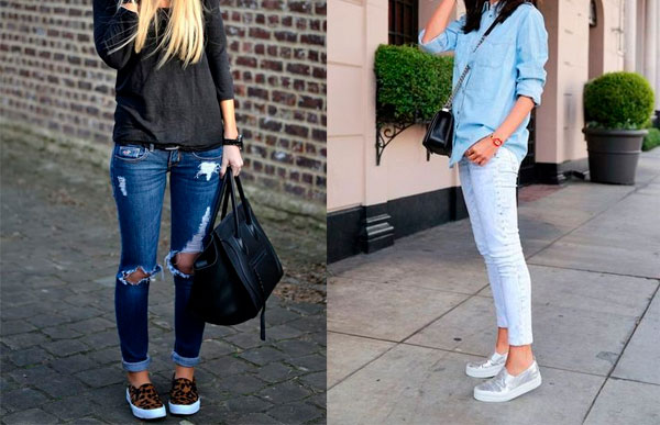 combine slip on com jeans
