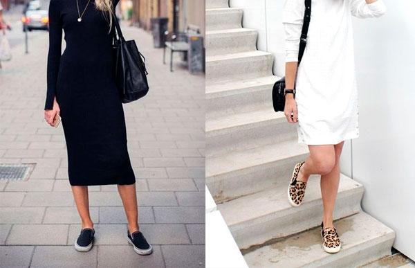 use slip on com vestido!