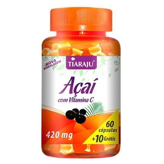 Açaí com Vitamina C 420mg (60caps + 10 Grátis) - Tiaraju