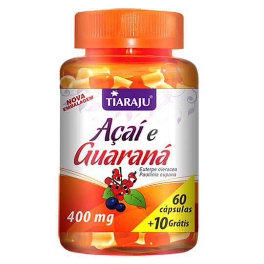 Açaí e Guaraná 400mg (60caps + 10 Grátis) - Tiaraju