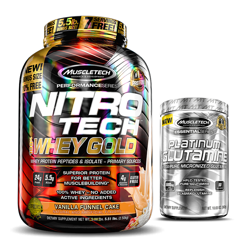 Nitro Tech 100% Whey Gold (2500g) MuscleTech + Glutamina Grátis