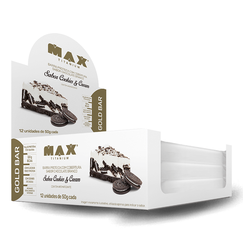 Gold Bar (12unid-50g) Max Titanium-Cookies & Cream