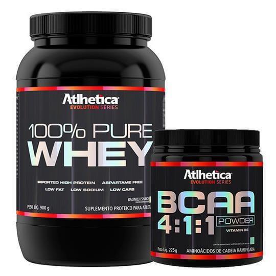 Kit 100% Pure Whey (900g) + BCAA Powder 4:1:1 (225g) - Atlhetica