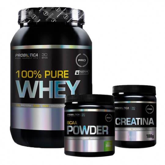 Kit 100% Pure Whey (900g) + BCAA Powder Limonada (200g) + Creatina (100g) - Probiótica