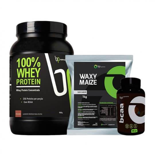 Kit 100% Whey (900g) + Waxy Maize (1kg) + BCAA (120caps) - BP Suplementos