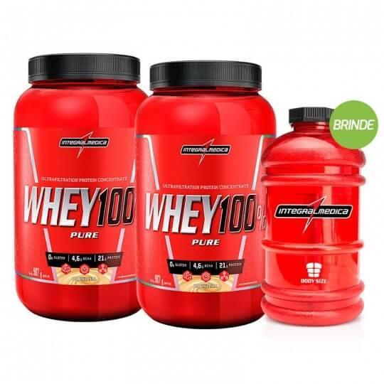 Kit 2 Super Whey 100% Pure (907g) - Integralmédica + BRINDE