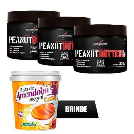 Kit 3 Peanut Butter Whey (300g) - Integralmédica (Brinde Pasta Mandubim)