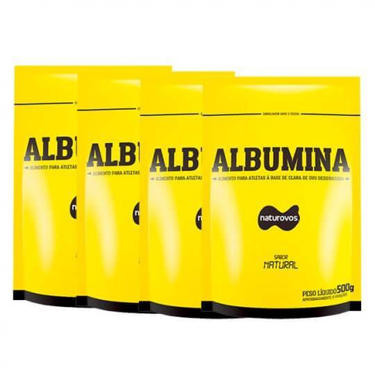 Kit 4 Albumina Pura (500g) - Naturovos (Total: 2kg)