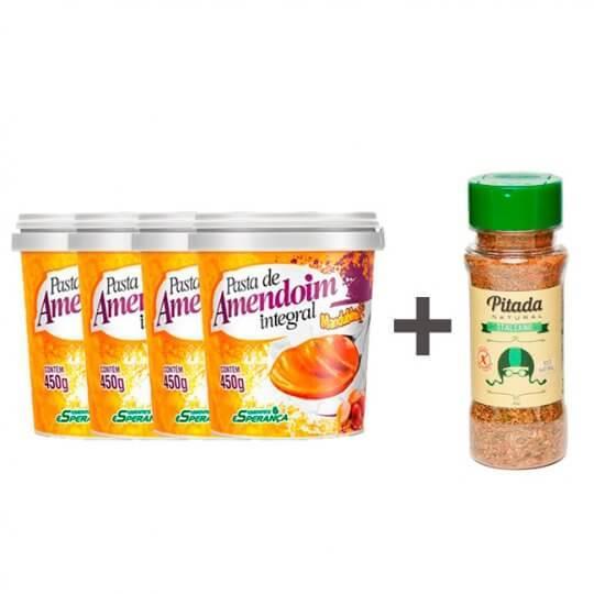 Kit 4 Pastas de Amendoim Mandubim + Tempero Italiano Pitada Natural