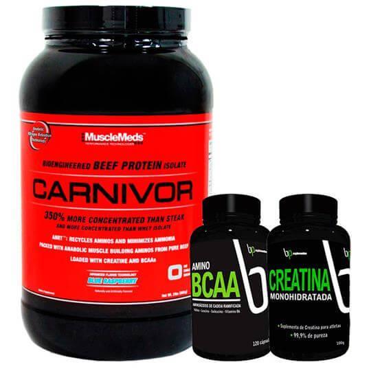 Kit Carnivor (980g) + BCAA (120caps) + Creatina (100g) - 25% OFF