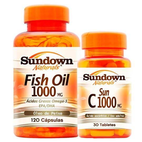 Kit Fish Oil 1000mg (120caps) + Vitamina C 1000mg (30caps) - Sundown