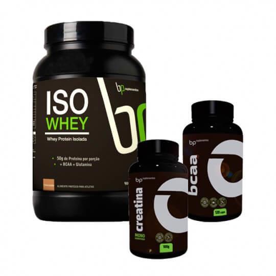 Kit ISO Whey (900g) + BCAA (120caps) + Creatina (100g) - BP Suplementos
