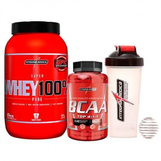 Kit Super Whey 100% (900g) + BCAA TOP 4:1:1 (240caps) + Brinde Coqueteleira - Integralmédica