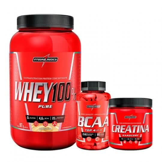 Kit Super Whey 100% Pure (900g) + BCAA Top 4:1:1 (120caps) + Creatina (150g) - Integralmédica