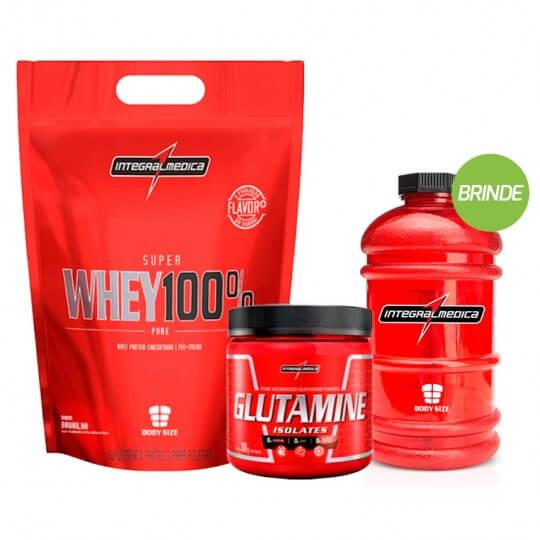 Kit Super Whey 100% (saco 900g) + Glutamina (300g) - Integralmédica + BRINDE