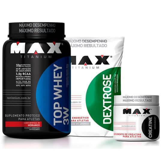 Kit TOP Whey 3W (900g) + Dextrose (1kg) + Creatina (150g) - Max Titanium