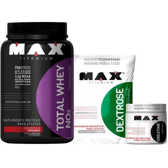 Kit Total Whey (900g) + Dextrose (1kg) + Creatina (150g) - Max Titanium