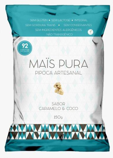 Pipoca Artesanal Caramelo e Coco 150g - Mais Pura