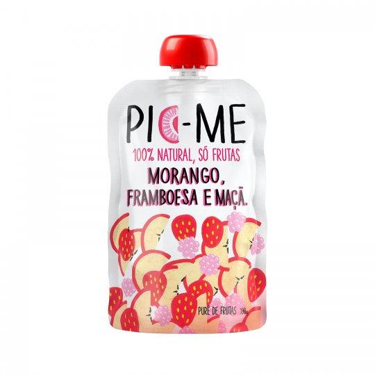 Purê de Frutas Morango Framboesa e Maça 100g - Pic-me