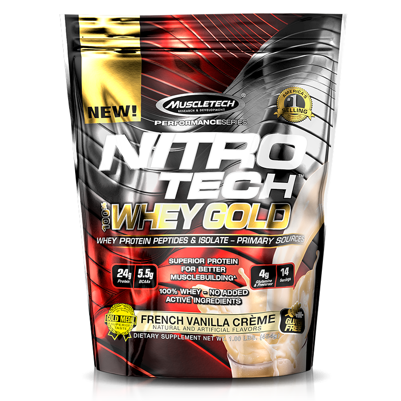 Nitro Tech 100% Whey Gold (454g) MuscleTech -French Vanilla Creme