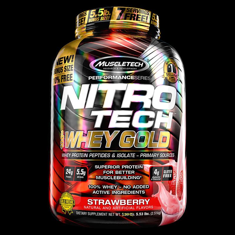 Nitro Tech 100% Whey Gold (2500g) MuscleTech-Creme de Baunilha Francesa