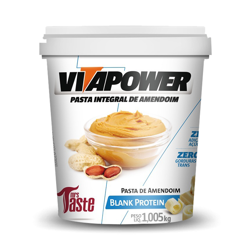 Pasta de Amendoim Integral Blank Protein (1.005kg) VitaPower
