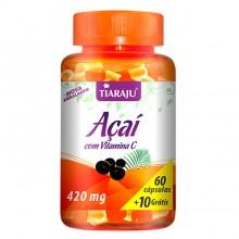 Açaí com Vitamina C 420mg (60caps + 10 Grátis) - Tiaraju - VENC 08/17