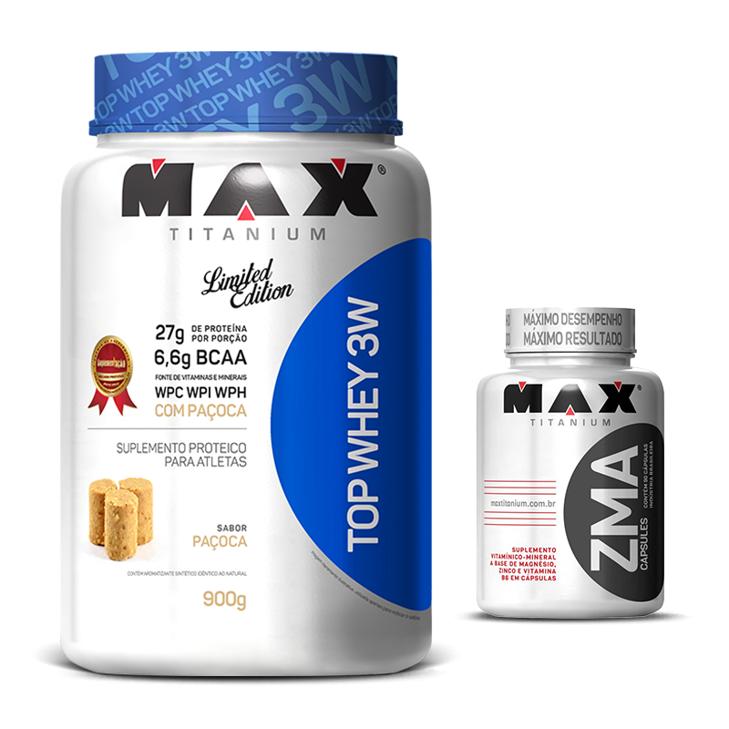 Top Whey 3W (900g) Max Titanium + ZMA (90caps) Max Titanium