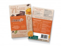Chocolife Senses 71% Cúrcuma, Pimenta e Laranja 25g
