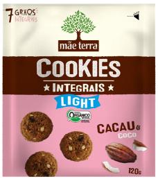 Cookies Orgânico Light Cacau 120g - Mãe Terra