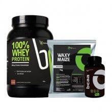 Imagem - Kit 100% Whey (900g) + Waxy Maize (1kg) + BCAA (120caps) - BP Suplementos