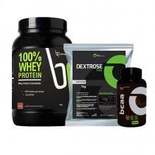 Kit 100% Whey Protein (900g) + Dextrose (1kg) + BCAA (120caps) - BP Suplementos