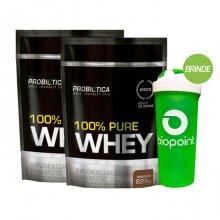 Kit 2x 100% Pure Whey Protein - Saco (825g) (Total: 1,65kg) - Probiótica + BRINDE