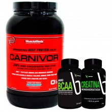 Kit Carnivor (980g) + BCAA (120caps) + Creatina (100g) - 25% OFF