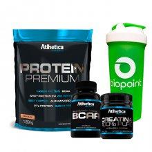 Kit Protein Premium (850g) + BCAA Pro (120caps) + Creatina (100g) - Atlhetica + BRINDE | LIQUIDAÇÃO