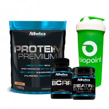 Imagem - Kit Protein Premium (850g) + BCAA Pro (120caps) + Creatina (100g) - Atlhetica + BRINDE | LIQUIDAÇÃO