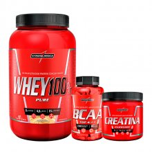 Imagem - Kit Super Whey 100% Pure (900g) + BCAA Top 4:1:1 (120caps) + Creatina (150g) - Integralmédica