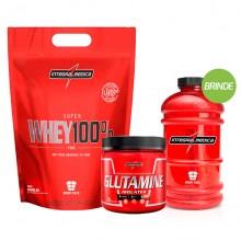 Imagem - Kit Super Whey 100% (saco 900g) + Glutamina (300g) - Integralmédica + BRINDE