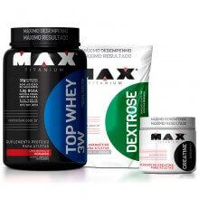 Kit TOP Whey 3W (900g) + Dextrose (1kg) + Creatina (150g) - Max Titanium