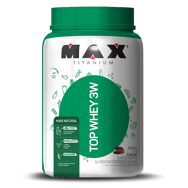 Top Whey 3W Mais Natural (900g) Max Titanium-Cacau