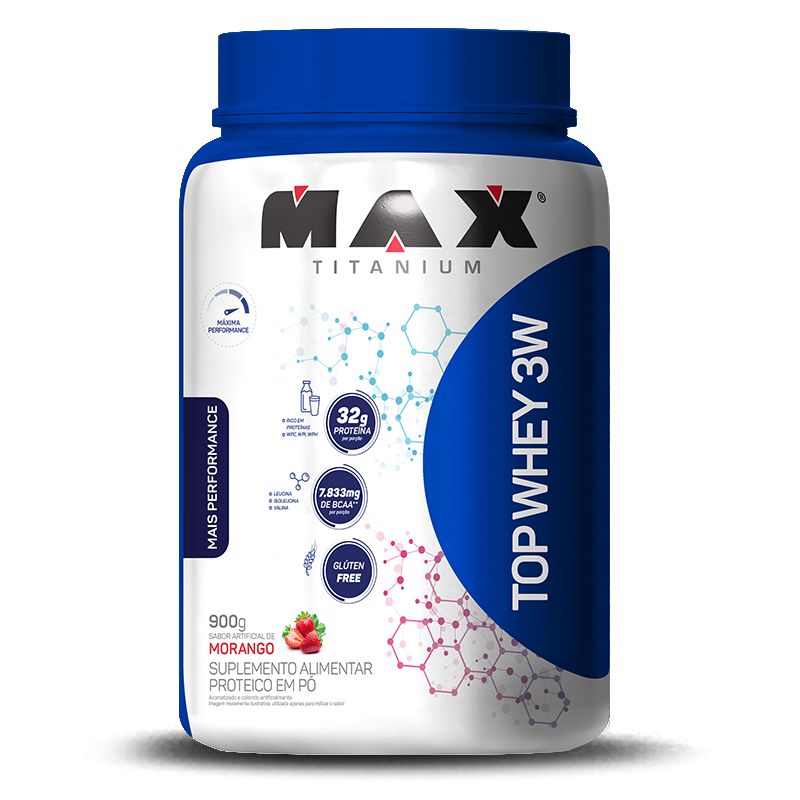 Top Whey 3W Mais Performance (900g) Max Titanium-Baunilha