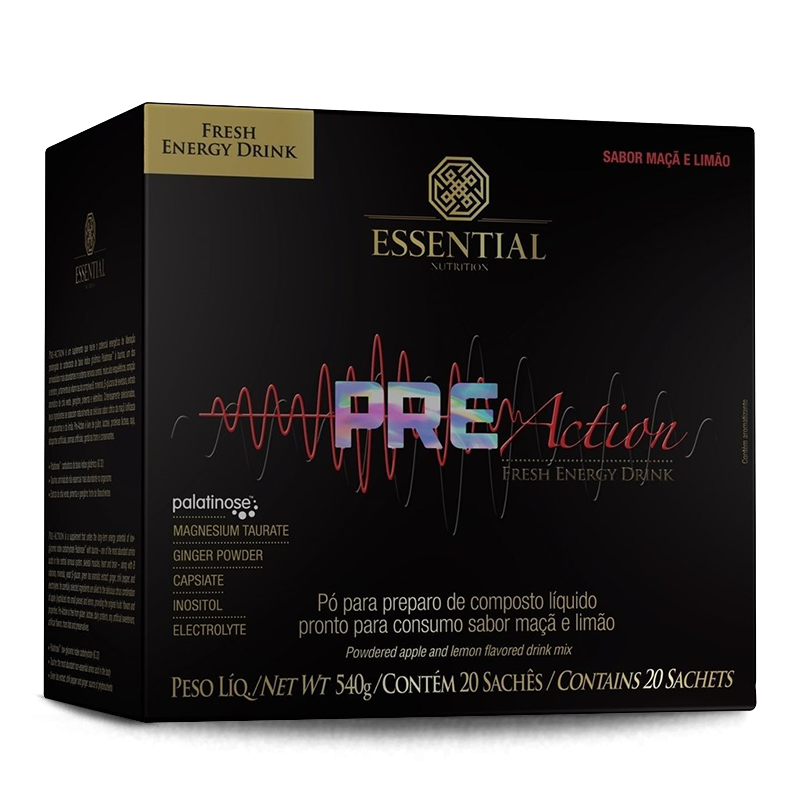 Pre Action Energy Drink (20 sachês-27g) Essential Nutrition-Abacaxi com Hortelã